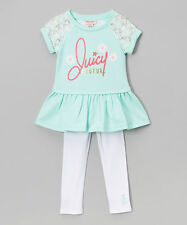 Juicy Couture Mint Green & White Ruffle Lace Tee & Leggings 4T 5 6 MSRP $64 NWT