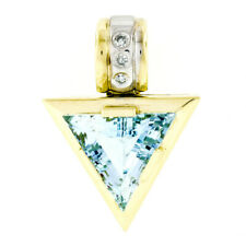 14k Gold & Platinum 6.19ctw GIA Triangular Aquamarine & Diamond Slide Pendant