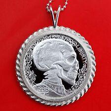 1936 Hobo Nickel 1 oz .999 Fine Silver Coin Sterling Necklace - Skulls & Scrolls