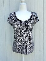 Ann Taylor Womens Scoop Neck Short Sleeve Black White Top Size Medium