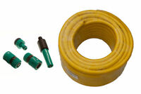 GARDEN HOSE PIPE YELLOW PRO ANTI KINK LENGTH 25M DIA 12MM + FITTINGS Y25F TOOLS