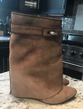 Givenchy Brown Suede Shark-Lock Fold-Over Ankle Boot sz 8