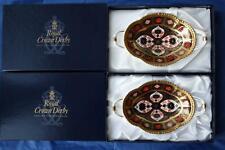 ROYAL CROWN DERBY PAIR OF OLD IMARI MELBOURNE TRAYS - ORIGINAL BOXES