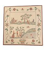 """Vintage German Handpainted Ceramic Tile Trivet Great Aesthetic 7.25"""""""