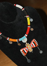 AFRICAN ceremonial COLLAR BIRD necklace KENYA Maasai blue red orange Tribal NEW