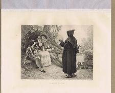 A Monk's Fun by Garnier -1892 Etching