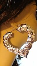 LARGE 3.5 INCH BAMBOO HEART HOOP EARRINGS IN SILVER AND GOLD TONE HOOP