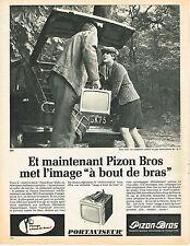 PUBLICITE ADVERTISING   1966   PIZON BROS  téléviseur portable