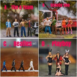 Miniature Figure Beatles . Scoobydoo . ATeam . Scale 1/87 or 1/64  no Preiser