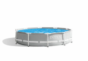 ***USEDDAMAGED BOX Intex 10ft x 30in Prism Frame Above Ground Swimming Pool Pump