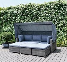 More details for rattan garden furniture set sofa day bed canopy lounger  wicker 5 year warranty