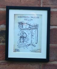 USA Patent VINTAGE ANESTHETIC MACHINE doctor medical MOUNTED PRINT 1919 Gift
