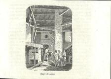 Stampa antica LECCO MAGLI operaio al lavoro officina 1859 Old antique print