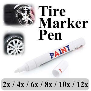 12X White Paint Pens Set Permanent Marker Pen For Car Rubber Tyre Waterproof AU