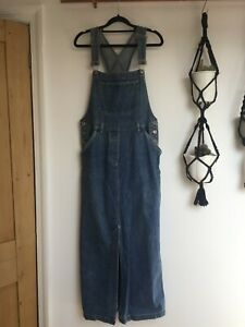 Vintage denim maxi dress dungaree dress size 14 90's grunge hipster