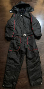 Vintage Black Red Hooded Snow Snowmobile Ski Suit Belted Mens Small Vtg EUC