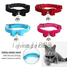 Cute Elastic Small Cat Kitten Collar Bow Tie Pet Neck Chain with Bell 5 Colors