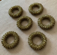 Tahari Home Handmade Indian Gold Beaded Napkin Rings Set of 6