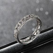 Full Eternity Band Milgrain Pave Natural Diamond 14K White Gold Wedding Ring