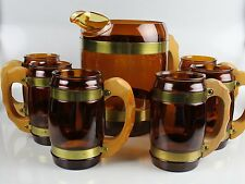 Vintage 6 Glasses Pitcher Amber Glass Wood Handles Barware MCM Siesta LM Mark