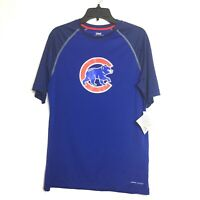 Majestic Coolbase Mens Chicago Cubs Mascot Blue Short Sleeve Shirt Top Medium