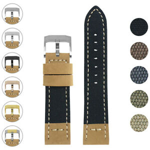 DASSARI Vintage Nylon Canvas Leather Strap Watch Band w/ Polished Silver Buckle