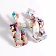 Rainbow Fleck & Multicoloured Acrylic Dangling Geo Statement Drop Stud Earrings