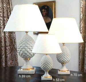 Lampada da tavolo in ceramica pigna con d'oro 24 K  di maiolica italiana h 53 cm