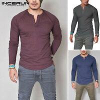 Men's Casual Long Sleeve T-shirt Tee Shirt Top Henley Grandad Collarless Button