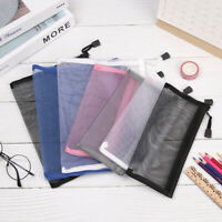 Handbags Transparent Grid Zipper Pencil Case Cosmetic Storage Mesh Pen Bag
