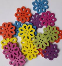 45 FLOWERS ASSORTED COLOURS WOODEN BUTTONS ARTS CRAFTING CARD MAKING 23MM