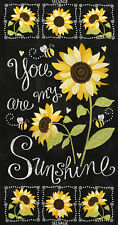 """YOU ARE MY SUNSHINE Sunflower Chalkboard Panel Quilt Fabric 24"""" x 43"""" TTreasures"""