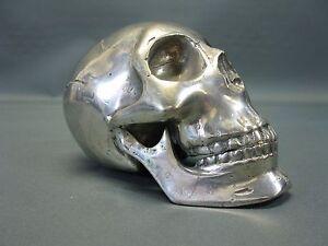 Metallo Teschio Argento Placcato Fermacarte Skull 18 CM Paperwight Pezzo Unico