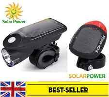 new front solar USB & rear solar bike lights set - waterproof white red light UK