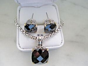 Silver Onyx Pendant and Onyx Earring Set