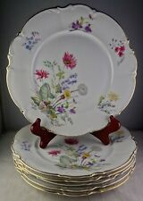 Set Of 6 Hutschenreuther China 8940 Dinner Plates Multicolored Flowers Gold Trim