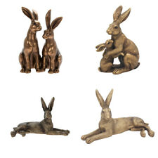 More details for reflections bronze colour hare statue hare ornament sculpture by leonardo boxed