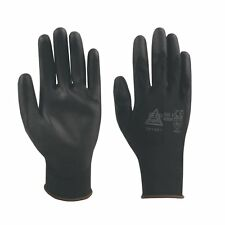 100 Pairs Black PU Precise Palm Coated Safety Work Gloves Size 9/L