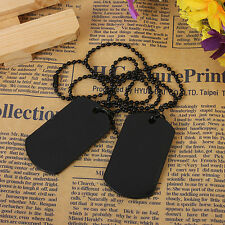 Men's 2pcs Alloy Pendant Necklace Black Dog Tag Army Style Tribal 26 Inch Chain