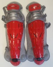 1 Pr Rawlings Lgvel Red / Gray Velo Adult Catchers Leg Guards Fits Ages 16 & Up