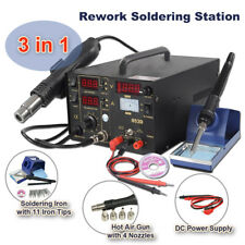 853D 3-in-1 SMD Rework Station Hot Air Gun Soldering Iron DC Power Supply 800W