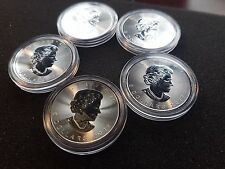 Lot of 5 2017 Canada .9999 Fine 1 oz Silver Maple Leaf Coins Encapsulated BU