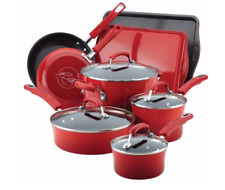 Rachel Ray Cookware Set Nonstick Enamel Red Non Stick Hard Enamel Pots Pans