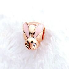 Authentic Pandora Rose Gold Cute Bunny Pink Enamel Charm Bead 787061#xx