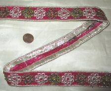 Vintage Antique Border Sari Trim Lace RARE OLD SEQUINS, SILVER ZARI 3 ft #ABE8B