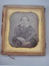 1850's 1/6 p. DAGUERREOTYPE OF MATRONLY LADY  IN HALF CASE