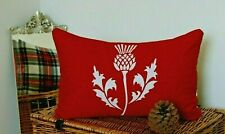 THISTLE TARTAN CUSHION COVER RED RECTANGLE SCOTTISH CHRISTMAS CUSHION STEWART