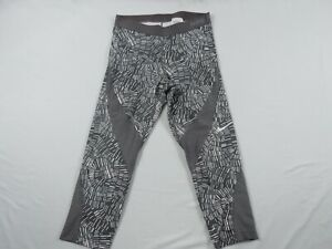 Nike Pro Capri Legging Women Large Mid Rise Gray Workout Gym Pants Lightweight L