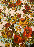 Vtg Floral House and Home Fabrics & Draperies Retro Floral Fabric 6 Yards