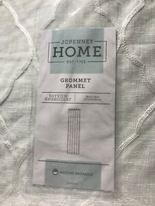 JCP Home Bayview Embroidered  Grommet 1 Single  Panel 50 X108 White